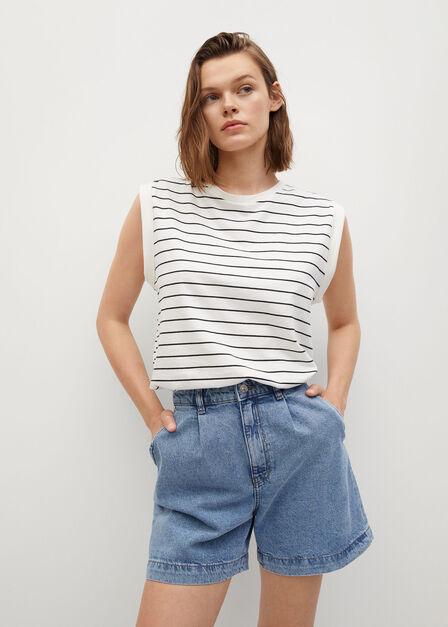 Mango - Open Blue Slouchy Pleated Shorts, Women