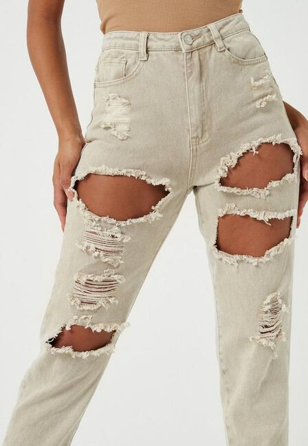 Missguided - Stone Sand Extreme Ripped Mom Rigid Jeans