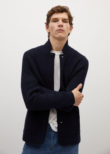 Mango - navy Pocket wool-blend cardigan
