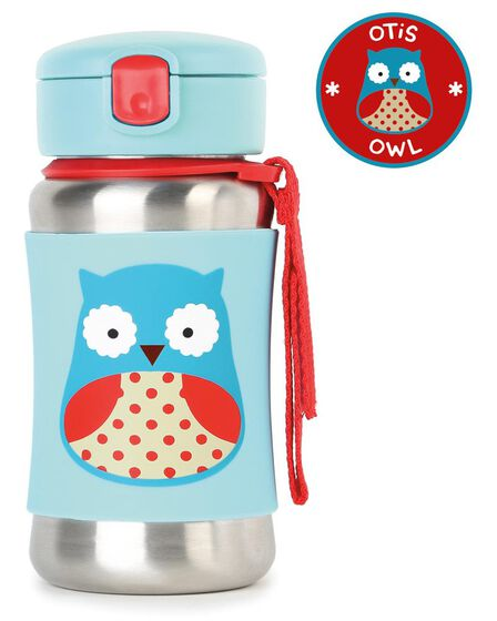 SKIP HOP - Skip Hop Zoo Stainless Steel Straw Kids Water Bottle Owl 350ml