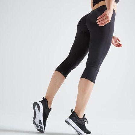 DOMYOS - W33 L31  100 Women's Fitness Cardio Training Cropped Bottoms - Black, Black