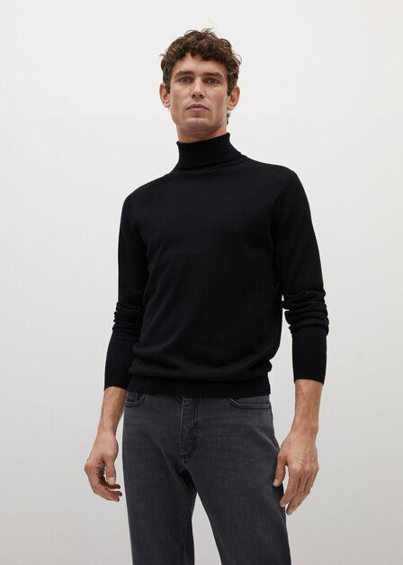 Mango - black 100% merino wool washable sweater