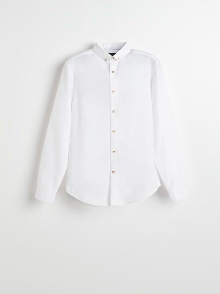 Reserved - White Structured Cotton Shirt, Men