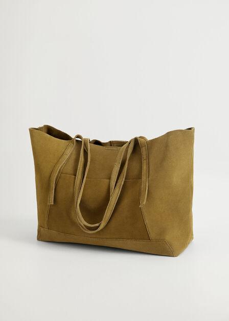 Mango - Khaki Leather Shopper Bag