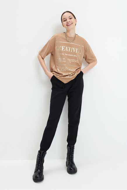 Mohito -  T-Shirt With A Shiny Print - Beige