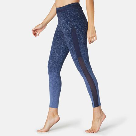 NYAMBA - W30 L31  Women's Slim-Fit Pilates & Gentle Gym Sport Leggings 520 Print, Blue