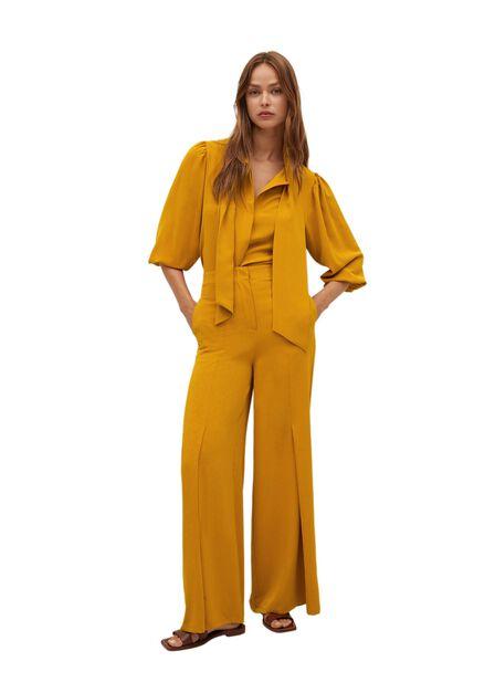 Mango - Medium Yellow Textured Flowy Trousers, Women