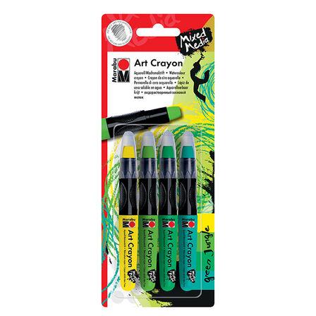 MARABU - Marabu Art Crayon Blister Assortment Of 4 Green Jungle