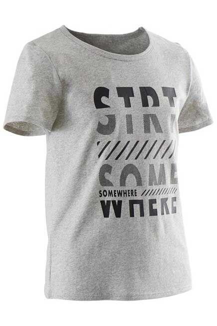 DOMYOS - Boys' recycled short-sleeved gym t-shirt 100 - heathered grey print