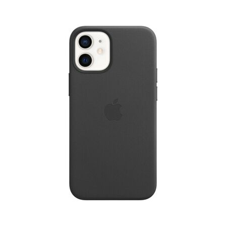 APPLE - Apple Leather Case Black with MagSafe for iPhone 12 Mini