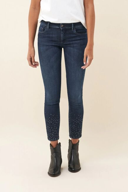 Salsa Jeans - Blue Push Up Wonder cropped jeans with sparkle on hem and leg