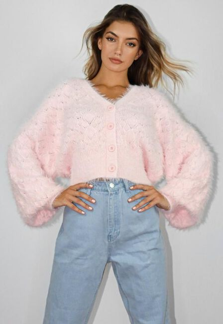 Missguided - Pink Pointelle Feather Knit Cardigan