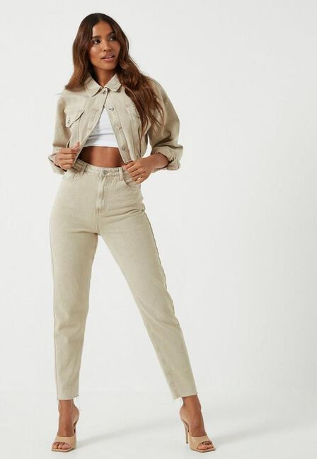 Missguided - Camel Sand Co Ord Highwaisted Mom Jeans