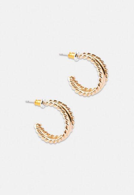 Missguided - Gold Look Triple Rope Hoop Earrings, Women