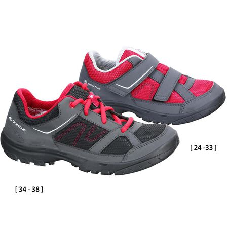 QUECHUA - EU 38  Kid's Hiking Shoes MH100 JR  baby size 5 to adult size 5, Crimson