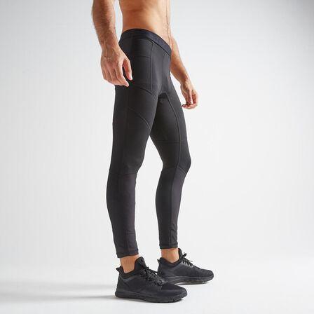 DOMYOS - W32 L33 Men's Cardio Fitness Training Leggings Fleg 500 - Print - Black