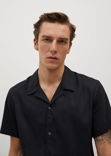 Mango - black Regular-fit lyocell cotton shirt