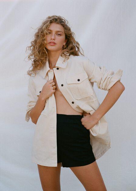 Mango - black Linen-blend high-waist shorts, Women