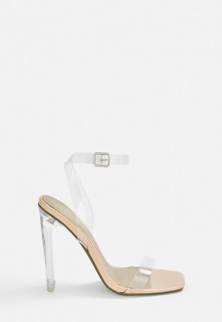 Missguided - Nude Square Toe Clear Heels
