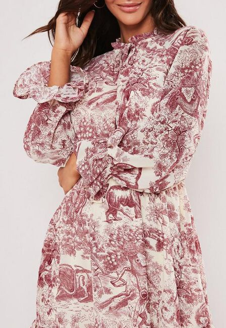 Missguided - Red Red China Print Frill Plunge Smock Dress