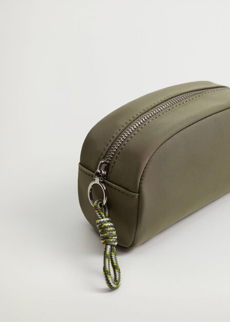 Mango - beige - khaki Quilted cosmetic bag with knot, Women