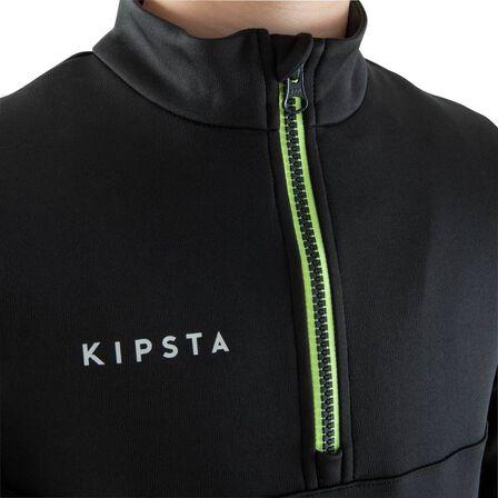 KIPSTA - T500 kids' half-zip football training sweatshirt - black/neon yellow
