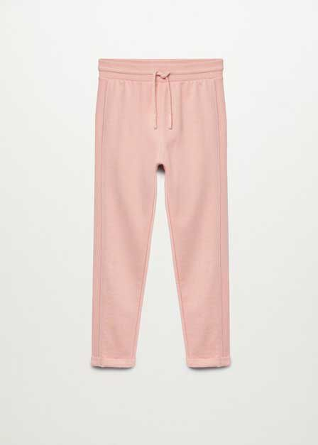 Mango - lt-pastel pink Organic cotton jogger trousers