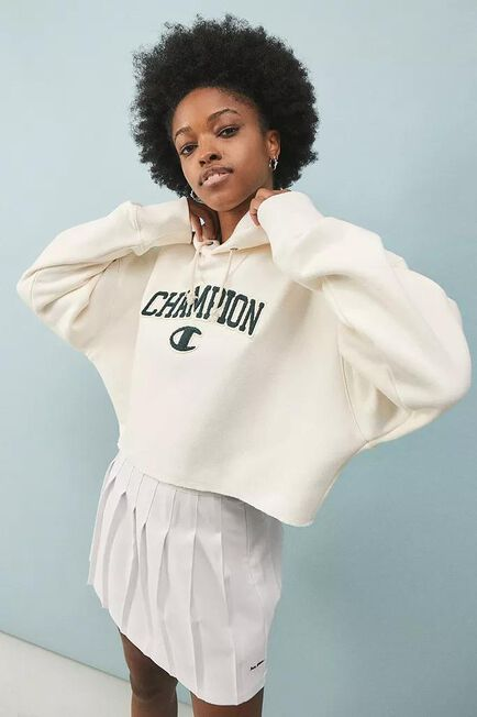 Urban Outfitters - Creme Champion UO Exclusive Logo Patch Hoodie