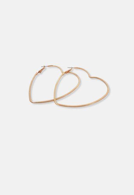 Missguided - Gold Look Heart Hoop Earrings