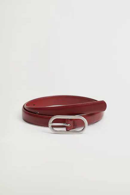 Mango - dark red Metal buckle belt