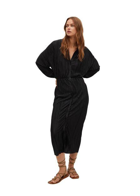 Mango - Black Textured Midi Dress, Women