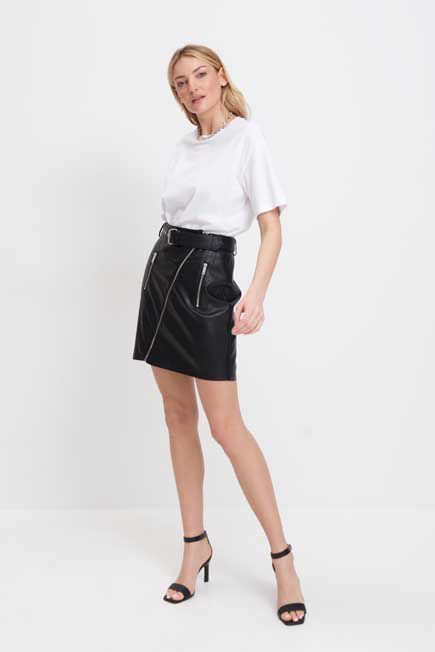 Mohito -  Faux Leather Skirt - Black