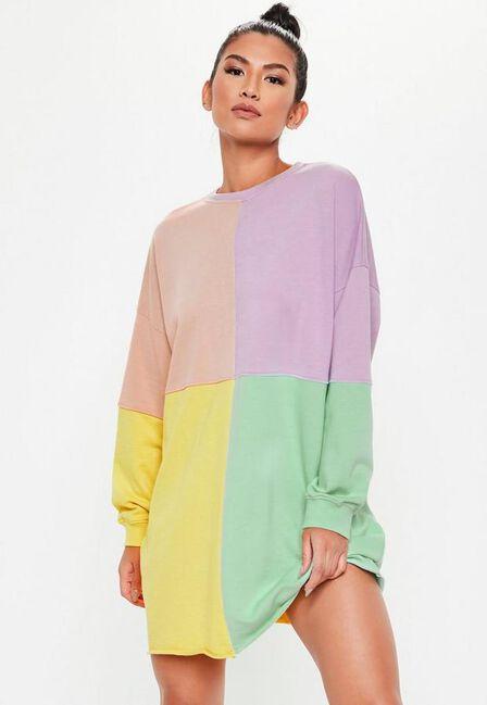 Missguided - Pink Oversized Colourblock Sweater Dress