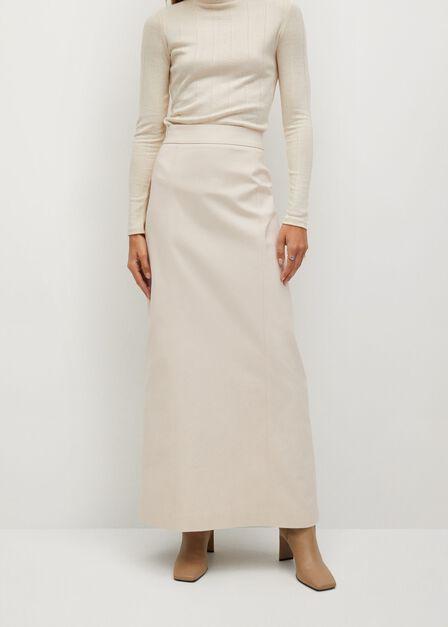 Mango - Light Beige Flared Long Skirt