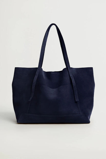 Mango - Medium Blue Leather Shopper Bag