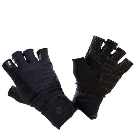 DOMYOS - 2XL  900 Weight Training Glove with Double Rip-Tab Cuff - Black/Grey, Black