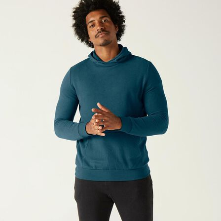 DOMYOS - Small  Fitness Hoodie with Kangaroo Pocket Pattern, Turquoise