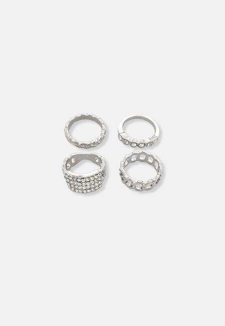 Missguided - Silver Pave Chain Ring Pack