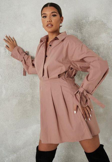 Missguided - Pink Blush Tie Cuff Balloon Sleeve Skater Dress
