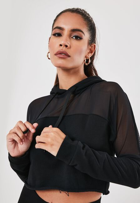 Missguided - Black Mesh Panel Cropped Hoodie