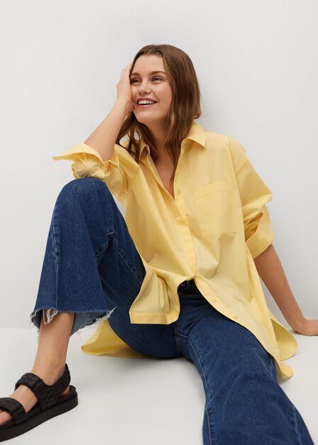 Mango - yellow Oversize poplin shirt