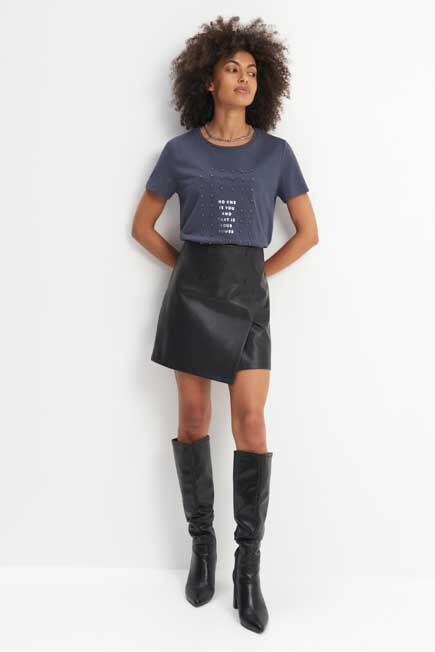 Mohito -  T-Shirt With Applique - Grey
