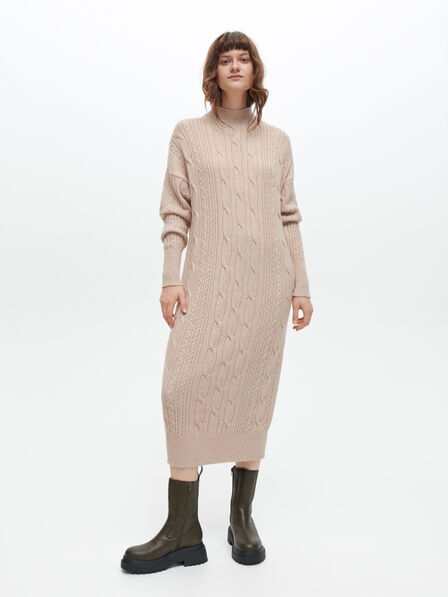 Reserved - Ladies' Oversize Knit Dress - Beige