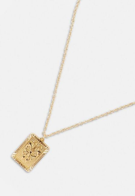 Missguided - Gold Look Butterfly Tag Pendant Necklace, Women