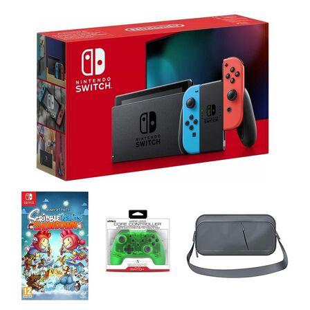 NINTENDO - Nintendo Switch Neon Joy-Con + Scribblenauts Showdown + Nyko Core Green Wireless Controller + Sparkfox Travel Bag