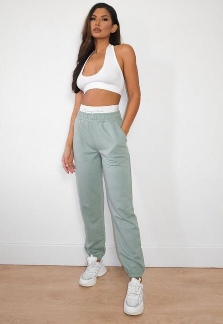 Missguided - Green Sage Missguided Script Tape Loungewear Joggers