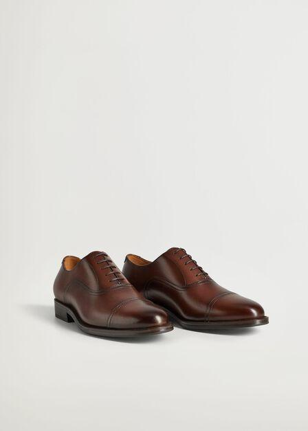 Mango - Medium Brown Stitching Leather Oxford Shoes