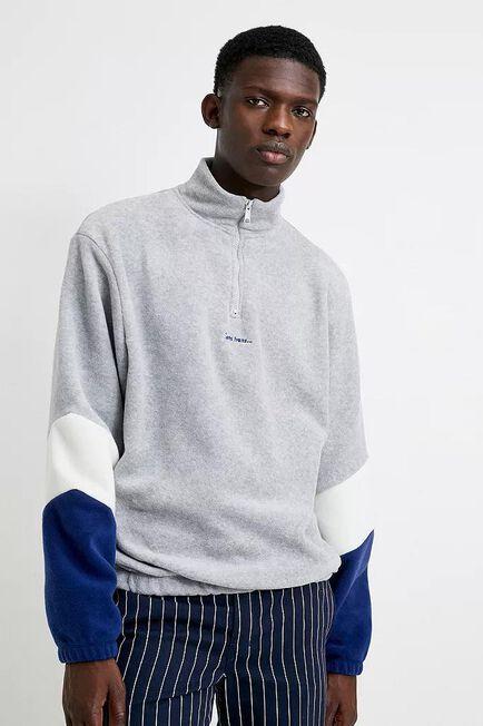 Urban Outfitters - Grey iets frans... Polar Fleece Quarter-Zip Mock Neck Sweatshirt, Men