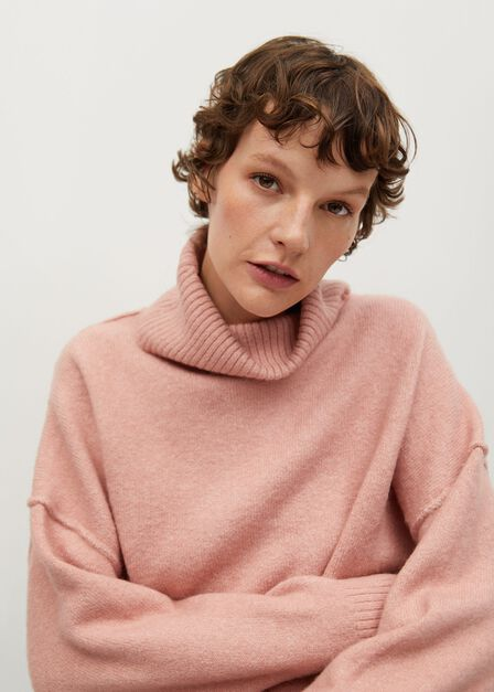 Mango - lt-pastel pink Turtle neck oversize sweater