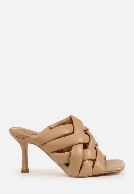 Missguided - Camel Padded Woven Cross Over Mules
